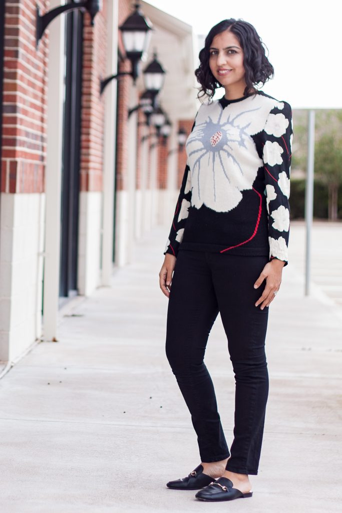 muslim christmas guide floral sweater