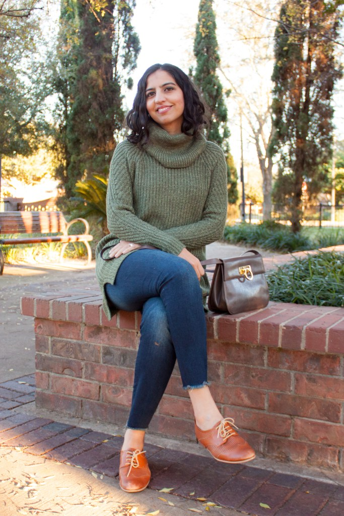 modest winter fashion green cowl neck sweater