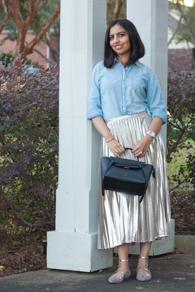 chambray shirt outfit ideas with a sparkly skirt