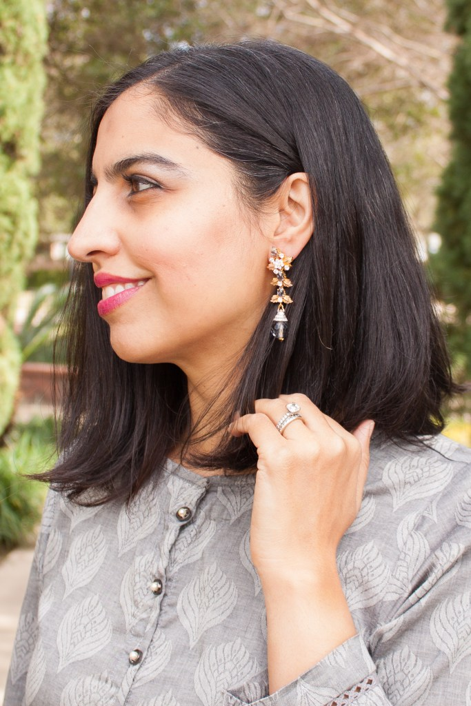mixing ethnic pieces into your wardrobe gray earrings