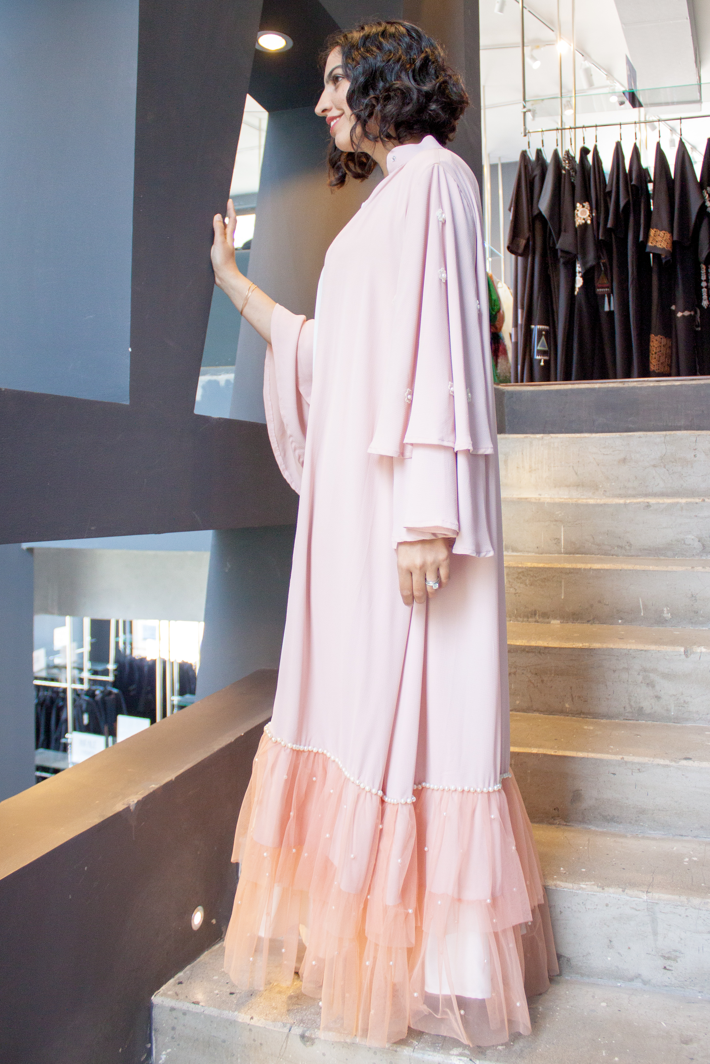 emaan qirat at the district pink abaya