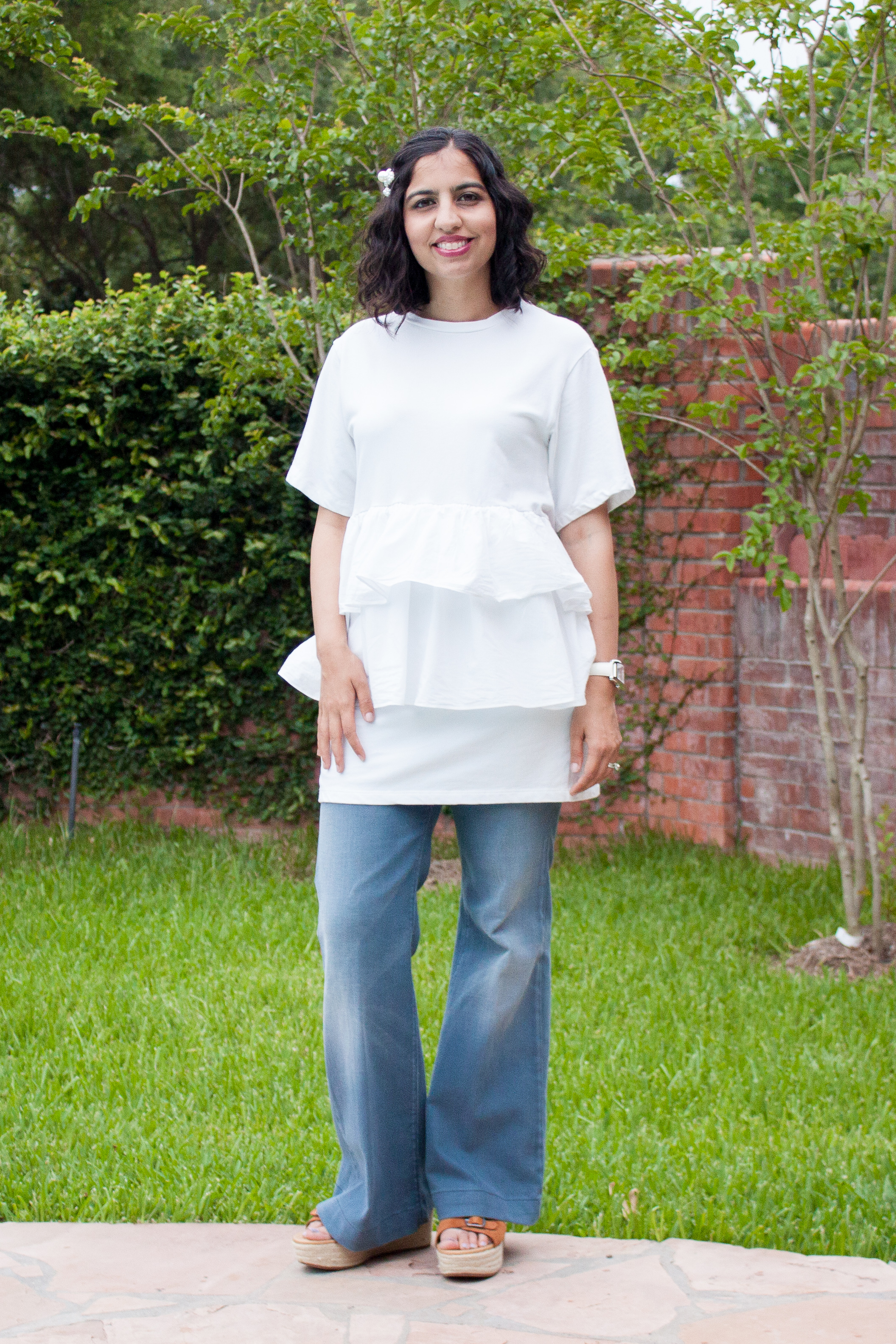 essential summer whites white shirt with ruffles