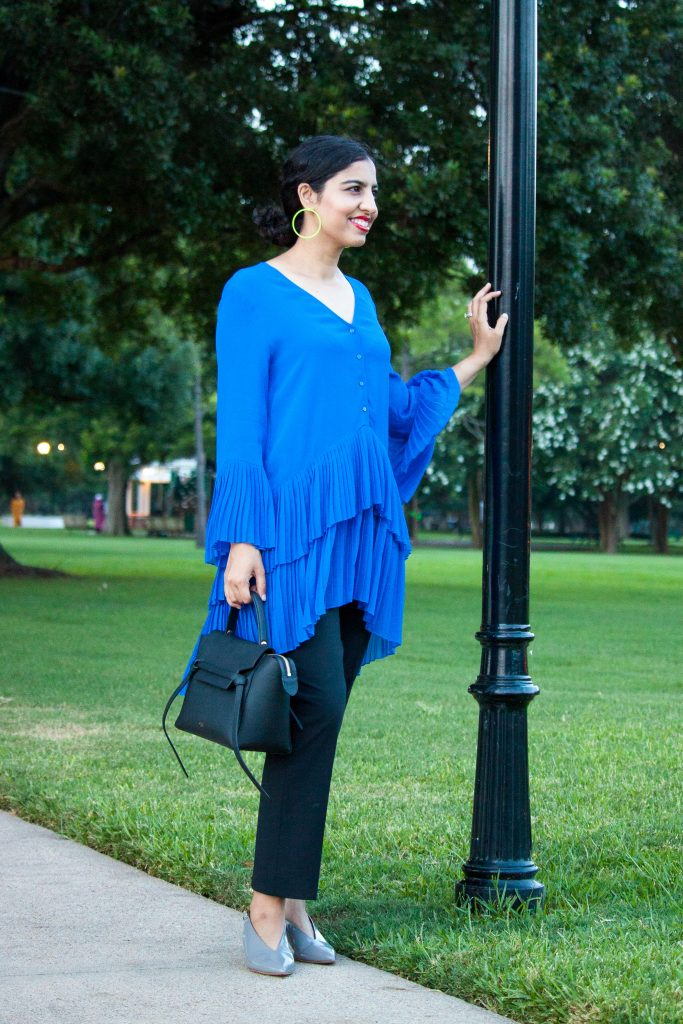 Zara summer sale 2019 neon blue accordion ruffle shirt