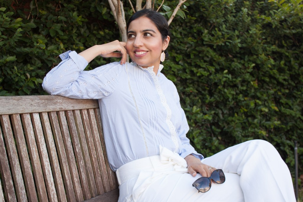 blue pinstripe and lace shirt