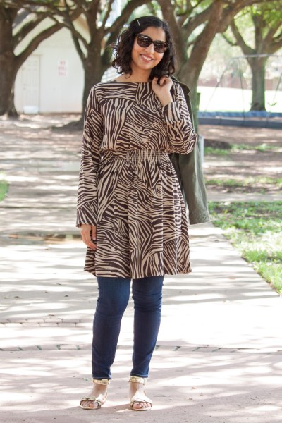 modest pre-fall fashion zebra dress