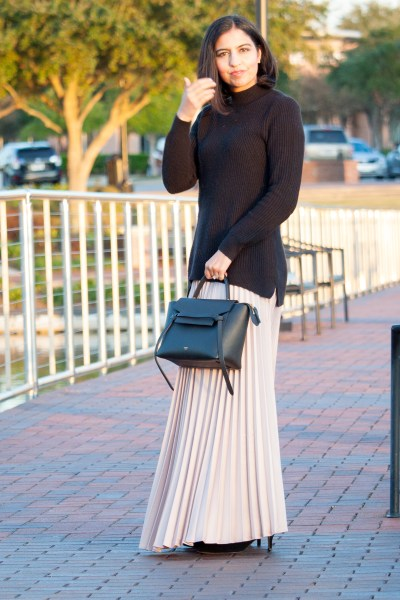 modest fashion brand niswa fashion pleated maxi skirt