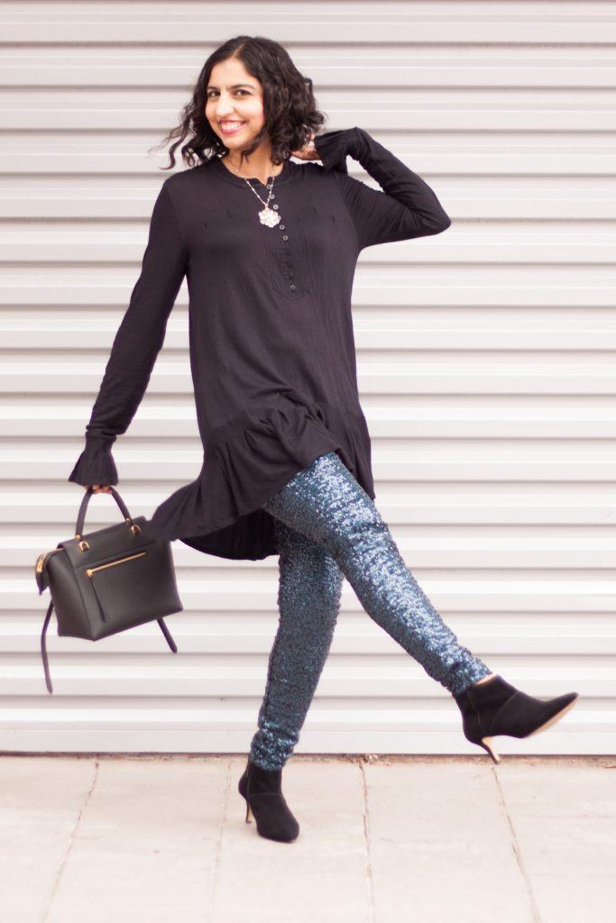modest holiday party outfits sequin leggings