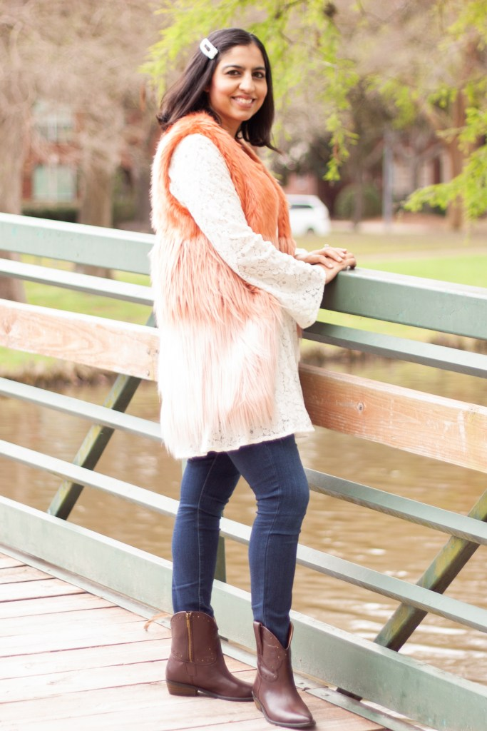 what to wear to rodeo Houston fur vest