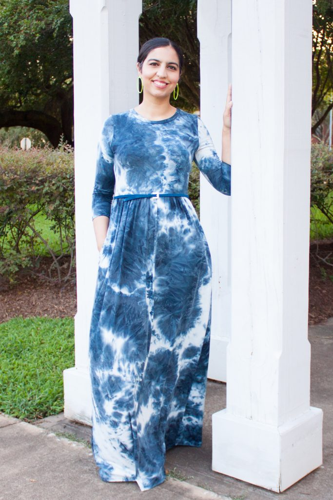 modest fashion brand skirt society tie dye maxi dress