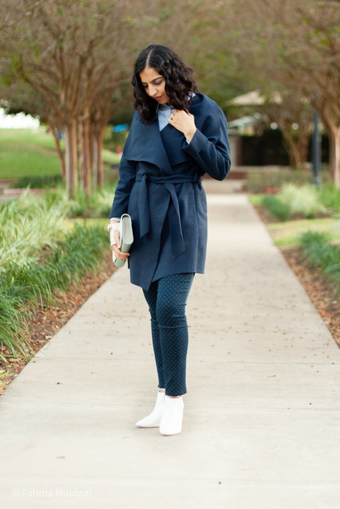 outfit idea belted cardigan, dot pants, and boots