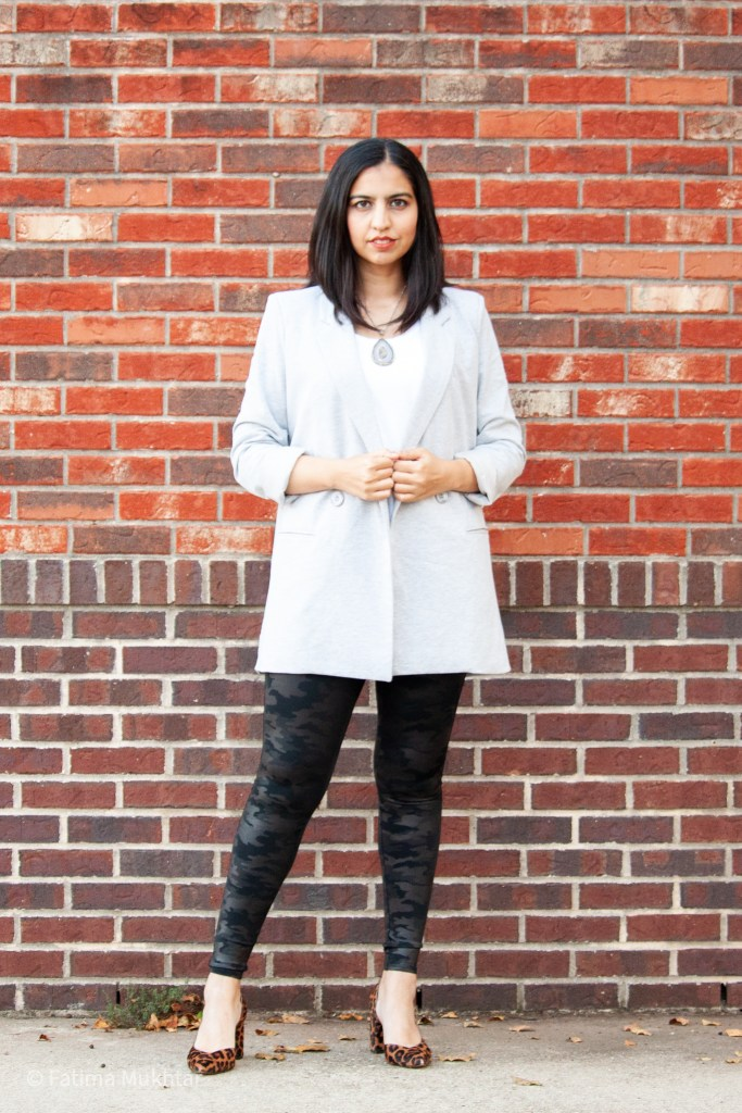 how to style spanx camo leggings with a t-shirt ad long blazer