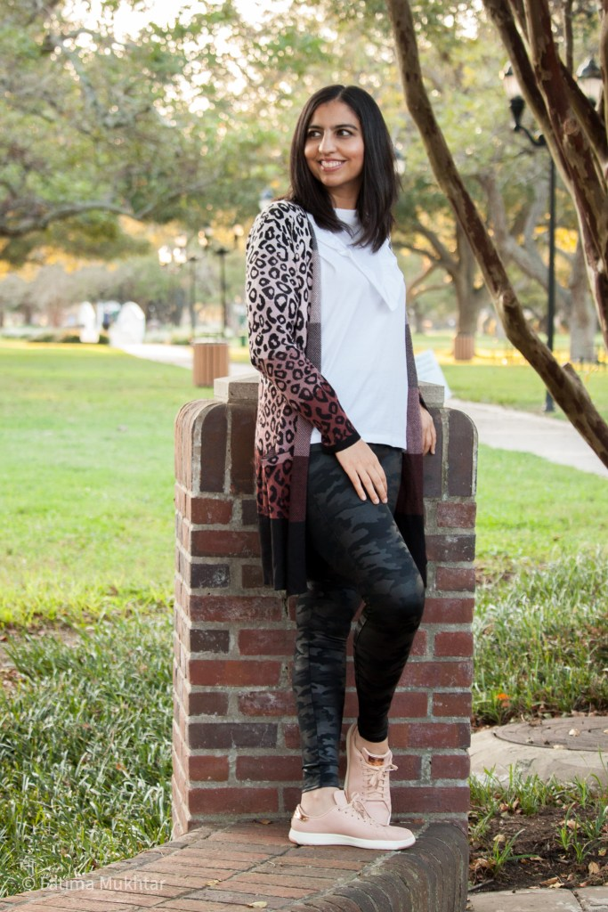 how to style spanx camo leggings with white tshirt and leopard cardigan