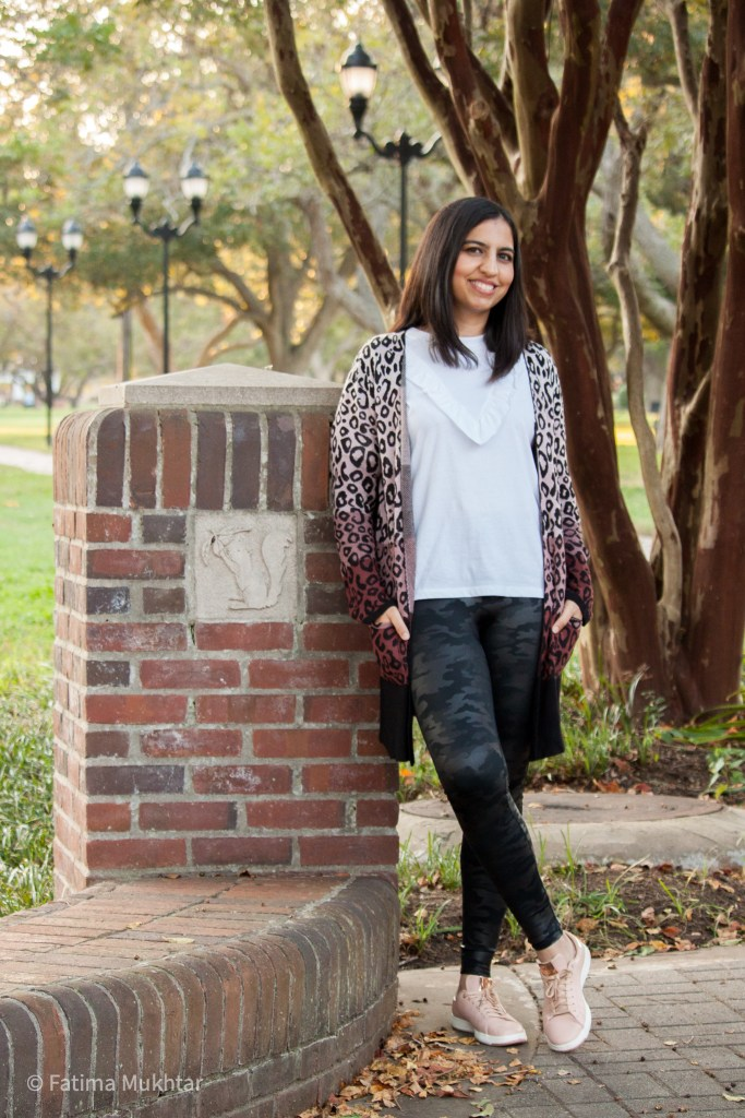 faux leather leggings and leopard print cardigan