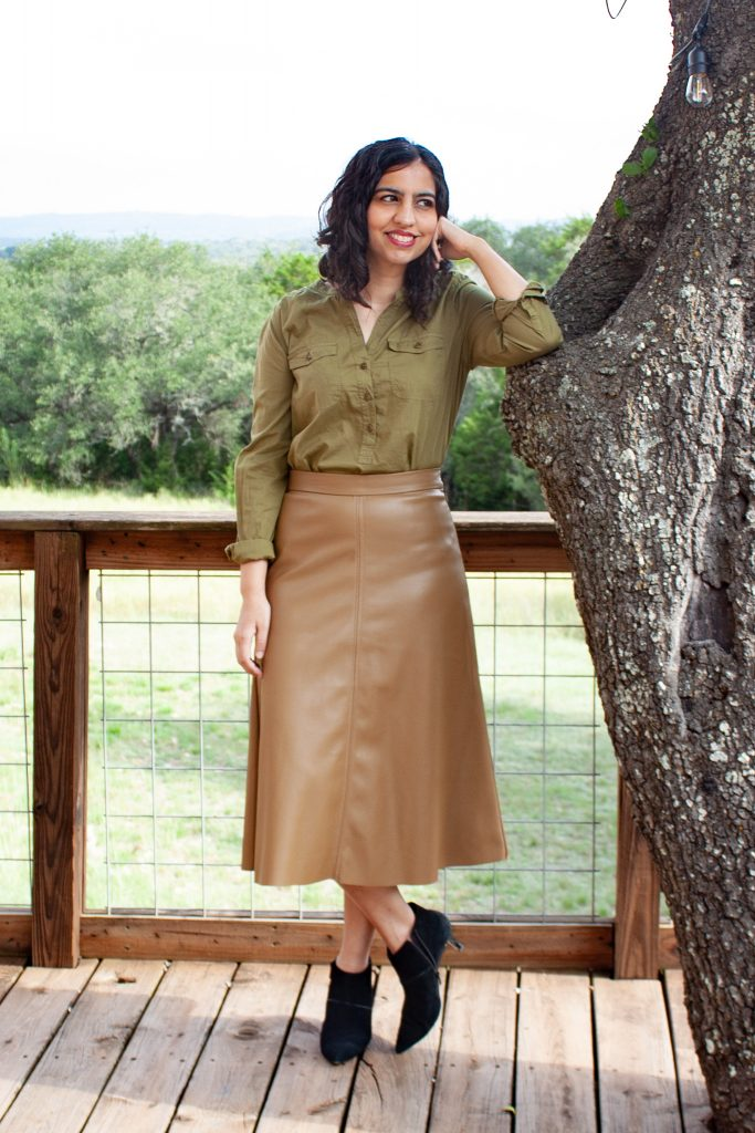 modest fall fashion idea olive green button down shirt and brown leather midi skirt