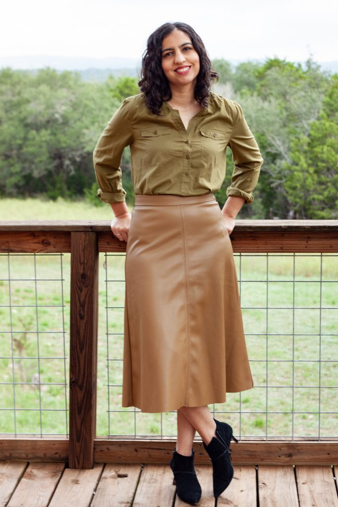 fall camel colored faux leather midi skirt