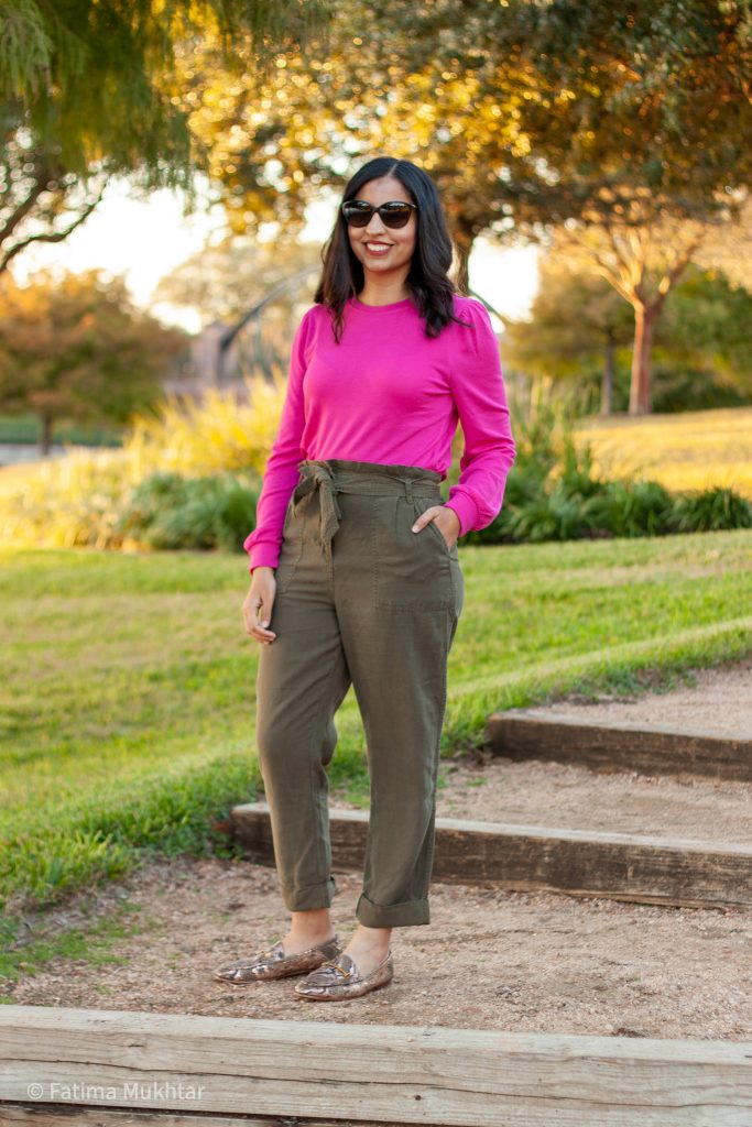 cute and modest work clothes hot pink sweater and olive green pants