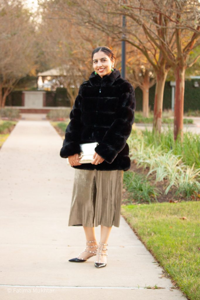 modest faux fur coat outfit for holiday party