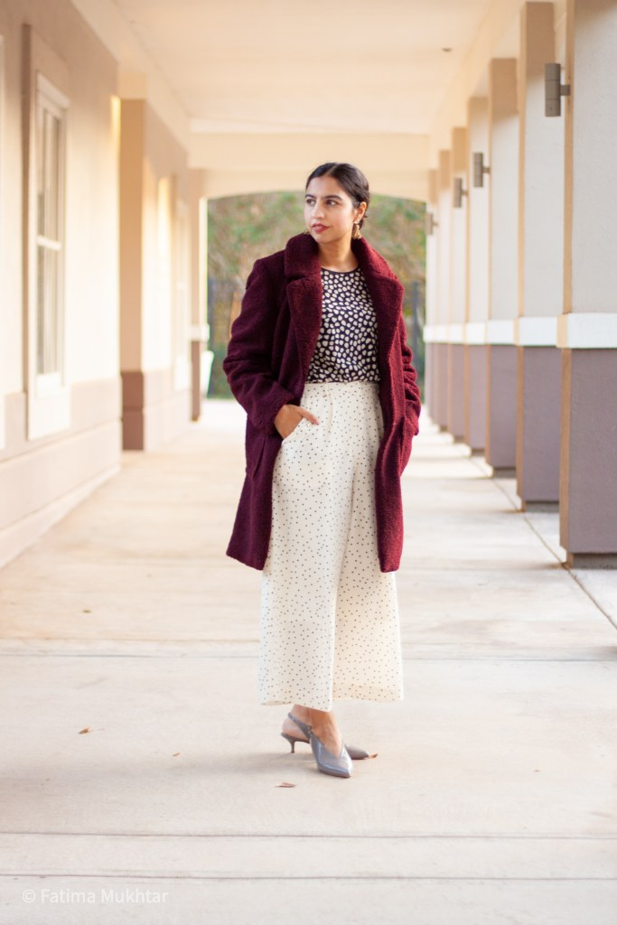 modest teddy coat outfit burgundy