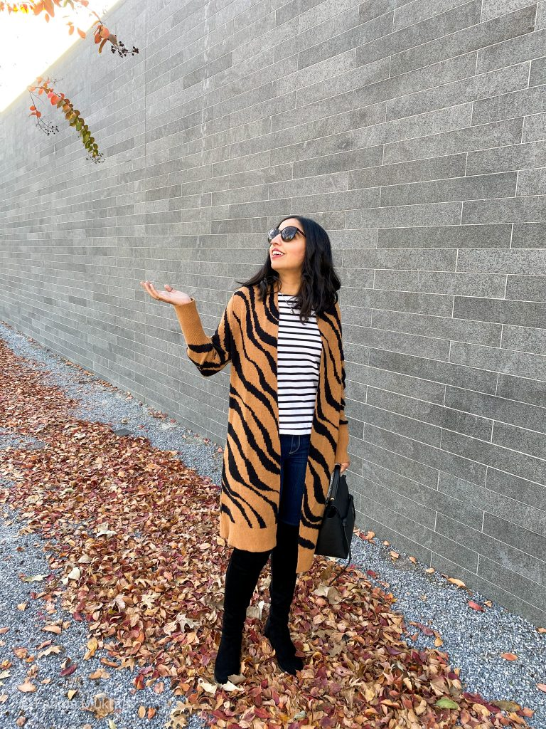 modest OTK boots outfit tiger striped cardigan, striped t-shirt, blue jeans, black boots