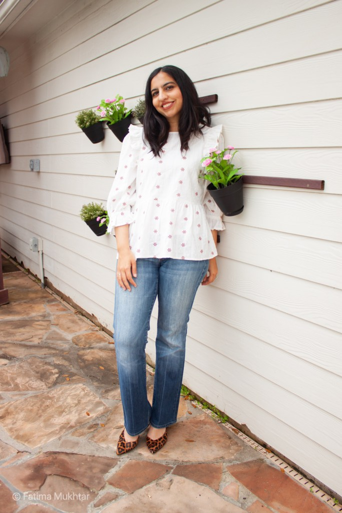 how to wear bootcut jeans now floral cotton top, bootcut jeans, animal print pumps
