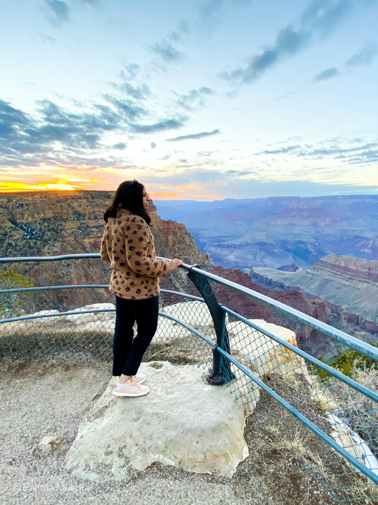 view of the sunset at the grand canyon