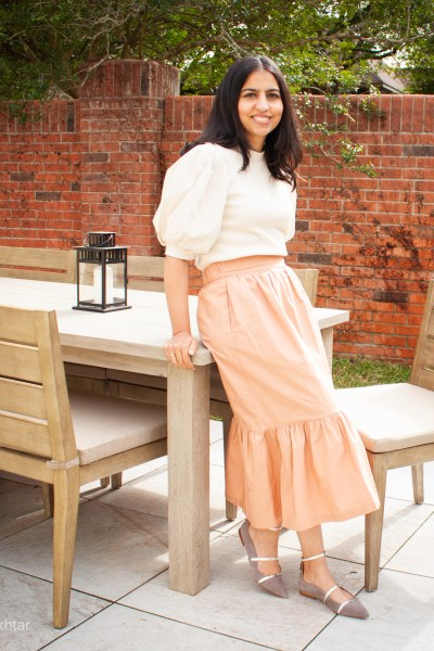 modest spring pieces from Target tiered maxi skirt and puff sleeve top
