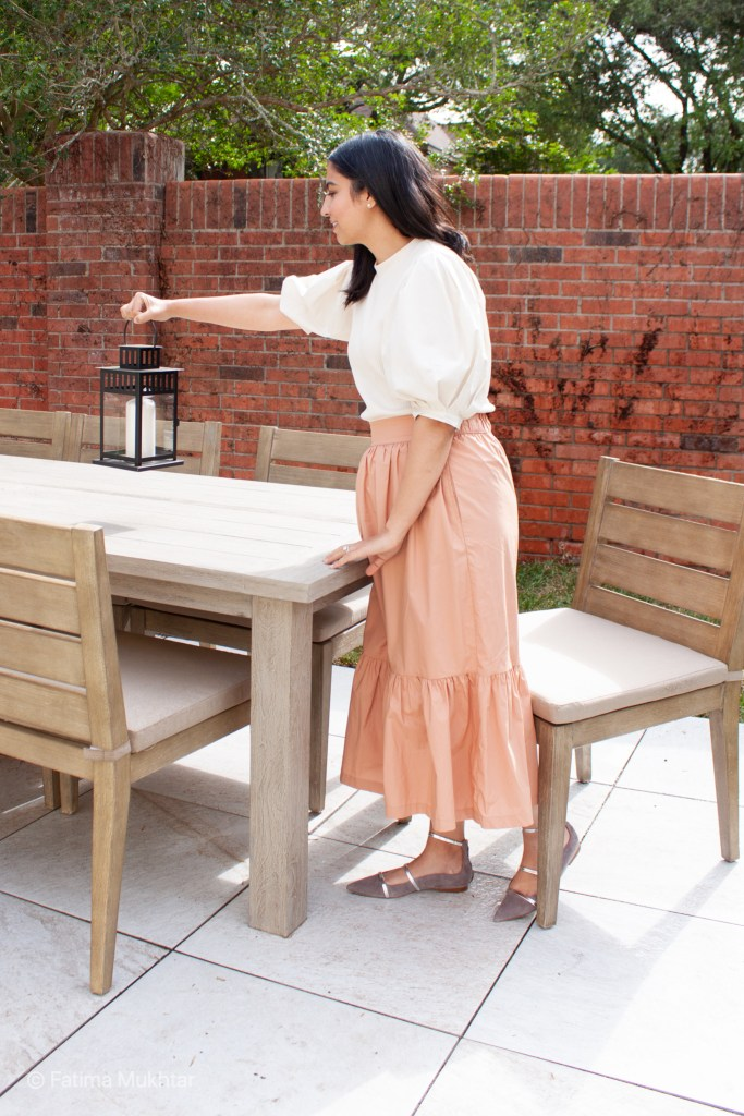 modest spring outfit idea puff sleeve top and coral maxi skirt