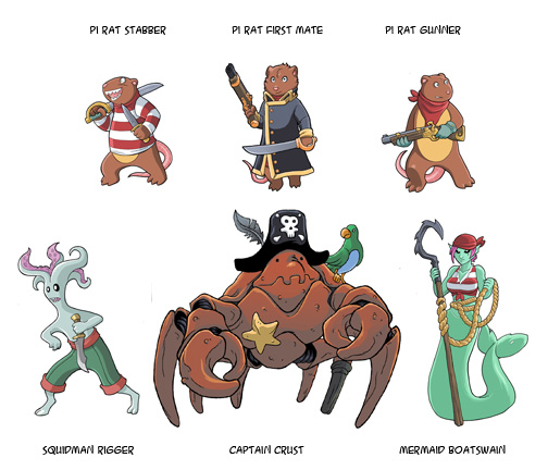 This pack includes these 6 Monster Pirates!