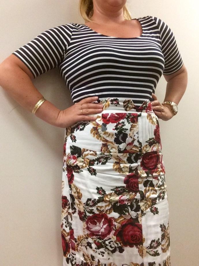 Floral print and striped shirt mode XLusive Canada PLus Size Fashion Blog Ottawa Toronto Montreal Chantsy Chantal Sarkisian