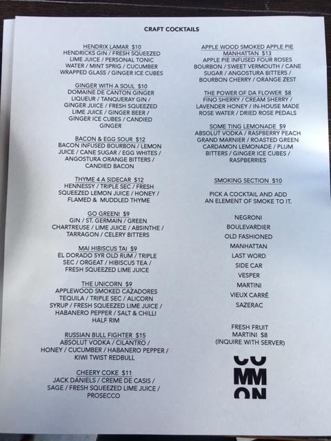 Common Eatery Ottawa New restaurant 2016 Elgin Street Ottawa Fashion Blog drink menu