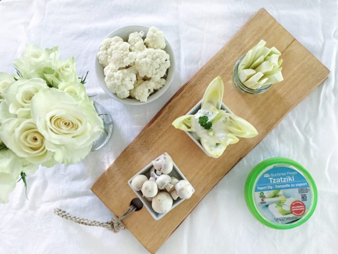 Diner en blanc Ottawa Fashion Blog White dinner menu idea crudite with tzatziki