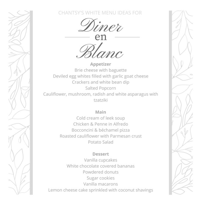 White menu ideas for Diner en Blanc Ottawa Fashion Blog