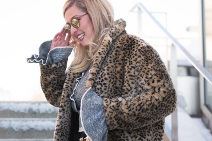 Canadian Winter Fashion Leopard Fur Coat Black Geox Booties Bonlook sunglasses Ottawa Fashion Blog Chantsy Blogger