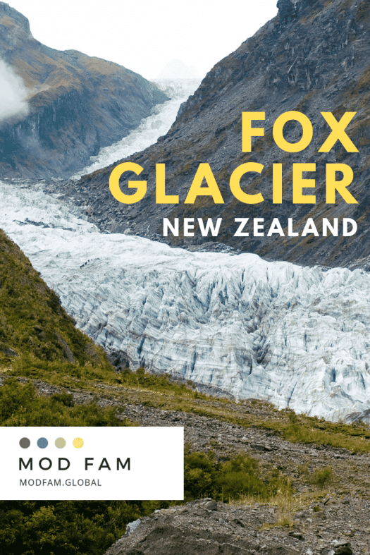 Tour New Zealand - South Island Itinerary: Fox Glacier. An image of Fox Glacier in 2009, showing the glacier covering the entire valley just ten years before.