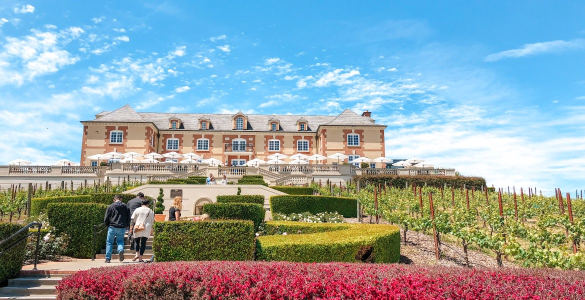 Wine Tasting Experience - Napa Valley Wine Tours. The iconic Domaine Carneros Château and Vineyards in Napa Valley, California.