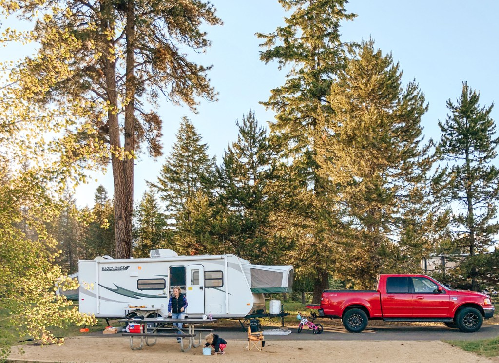 Trailer camping at Cascade Lake State Park, Poison Creek Campground