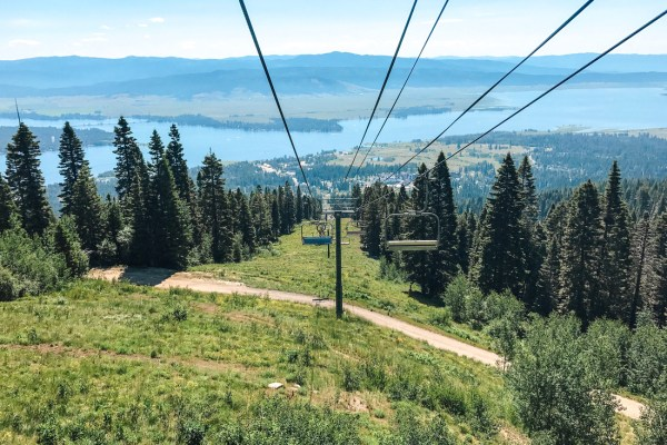 Active Recreation - Lake Cascade State Park & Tamarack Resort. A ski lift in summer carries mountain bikes to the top of the mountain at Tamarack Resort.