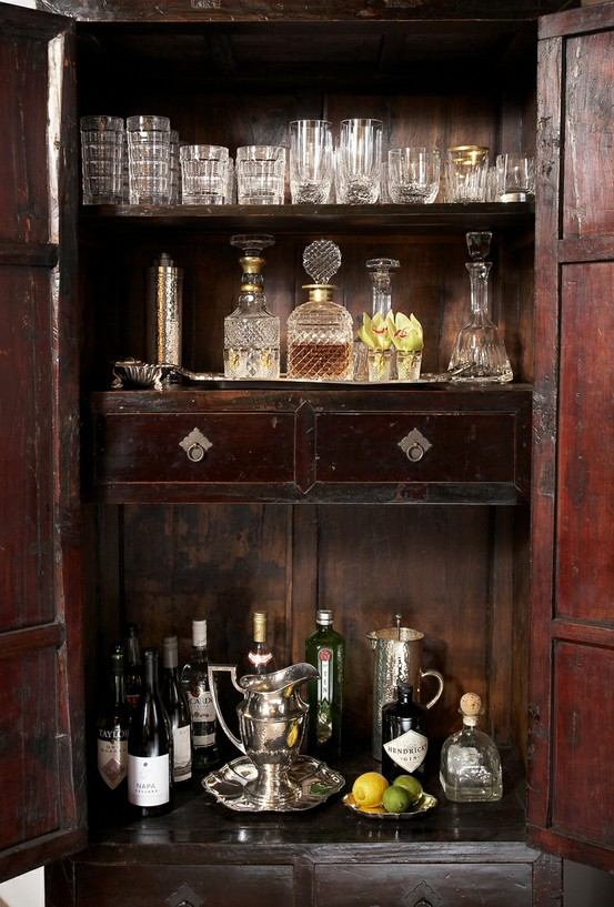 vintage home  bar area