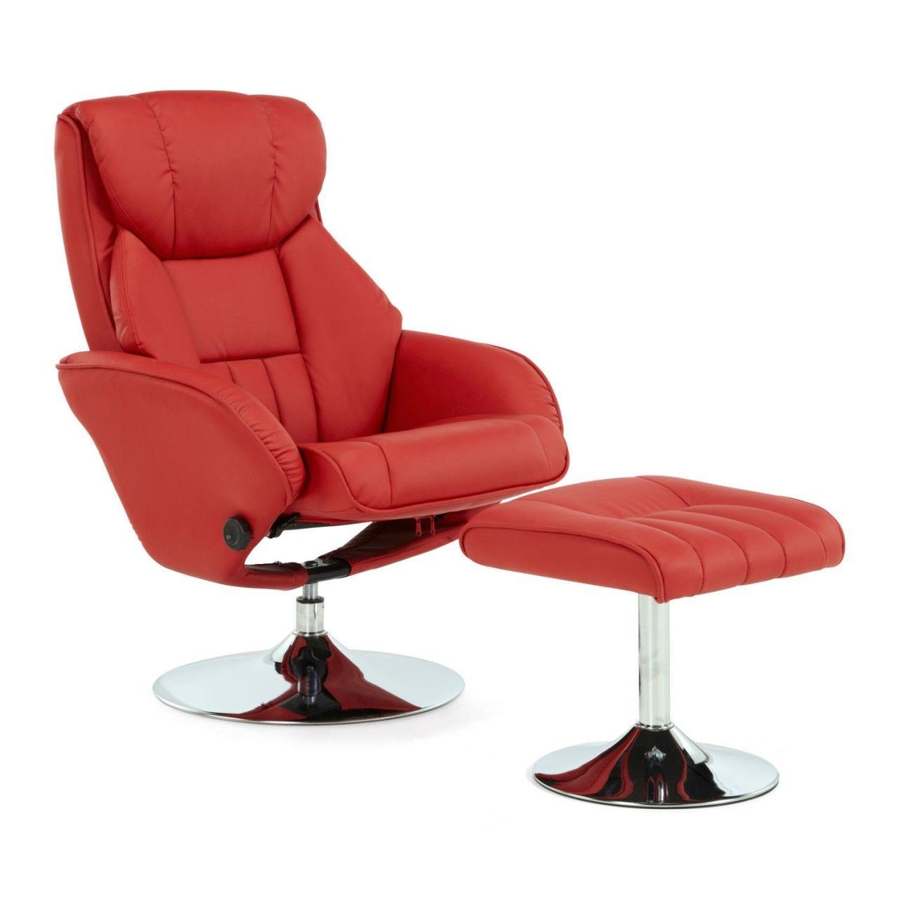 Red Leather Swivel Chair Serene Larvik Red Leather Swivel Recliner Chair With Footstool
