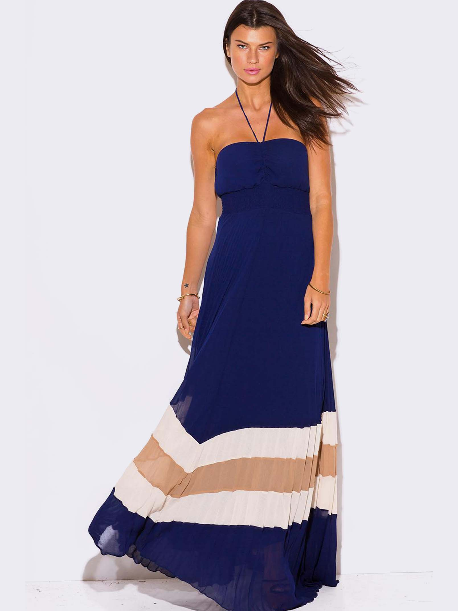 Blue Chiffon Halter Maxi Dress