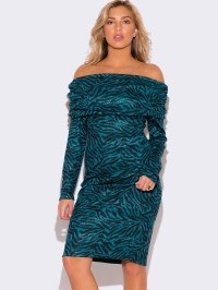 PLUS SIZE TEAL BLUE ZEBRA PRINT SWEATER DRESS