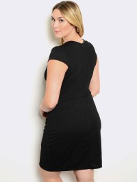 BLACK SHORT SLEEVE PLUS SIZE DRESS - ModishOnline.com