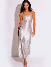 LIGHT SILVER METALLIC FORMAL EVENING DRESS