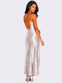 LIGHT SILVER METALLIC FORMAL EVENING DRESS - ModishOnline.com