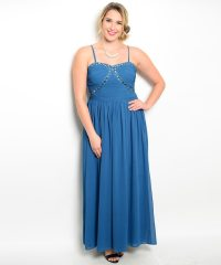 Teal Plus Size Embellished Evening Dress - ModishOnline.com