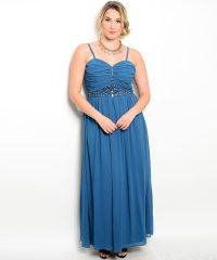 Teal Plus Size Jewel Embellished Evening Dress ...