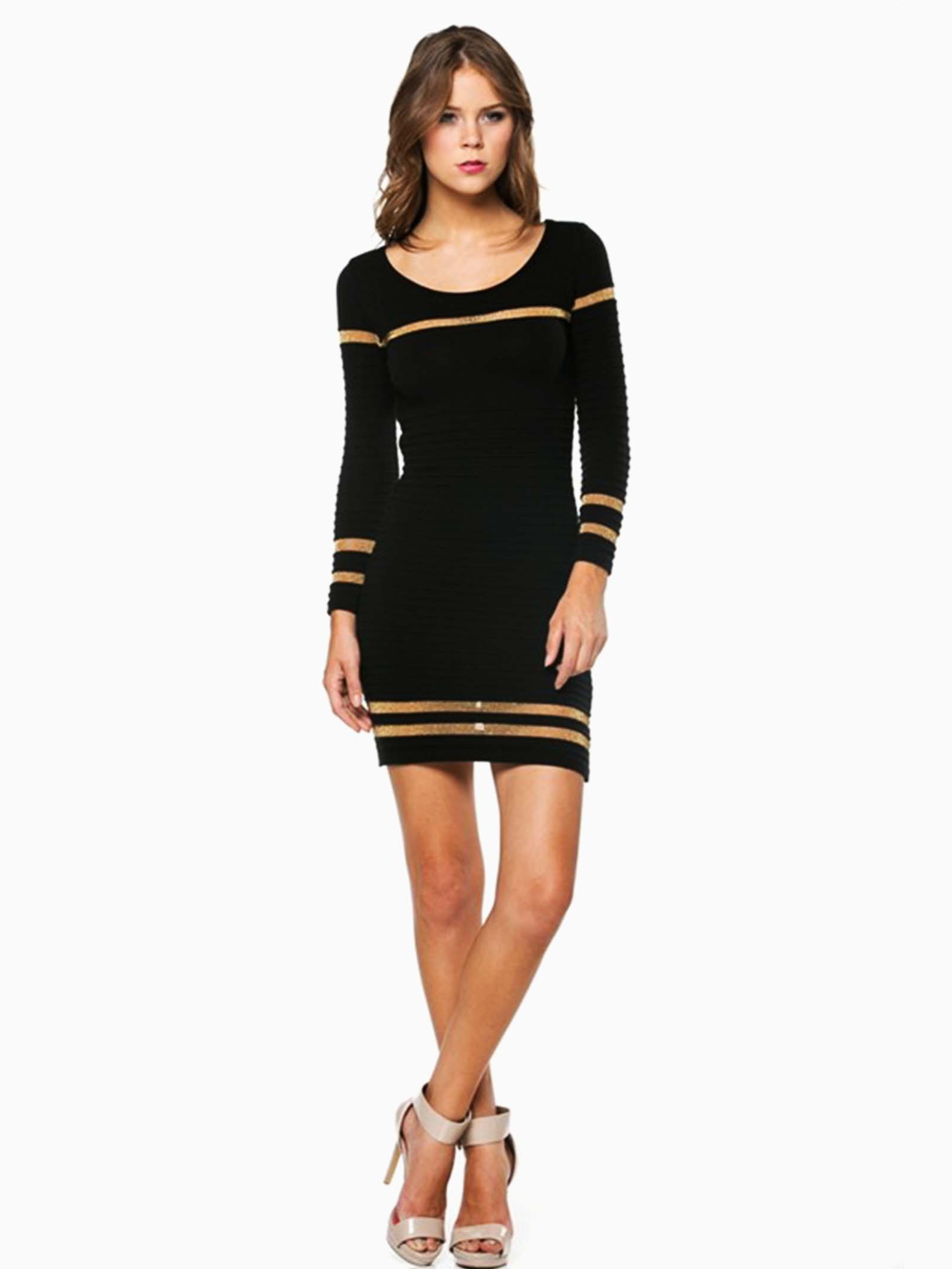 Hera Collection Black Ribbed Shimmer Striped Short Sweater