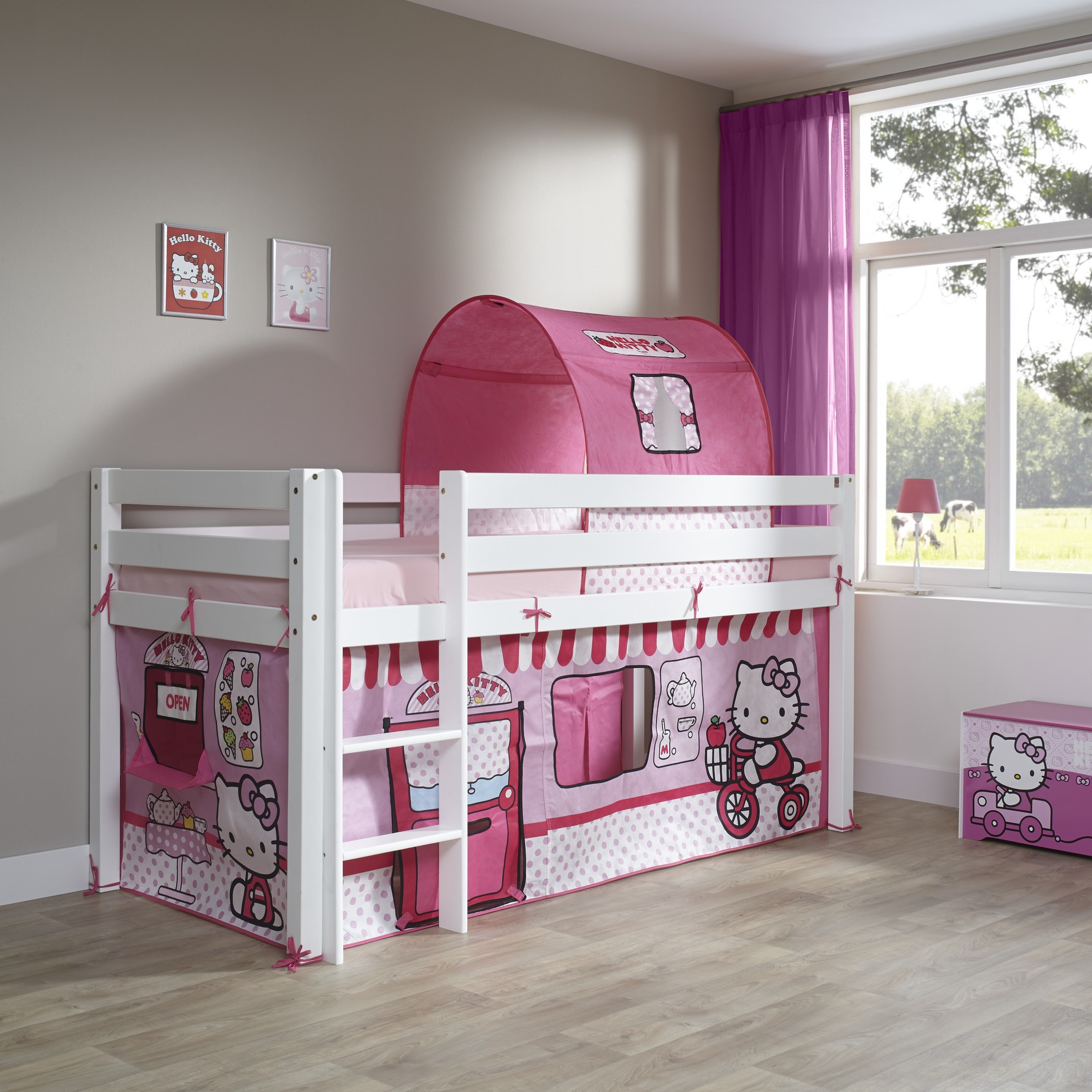 Chambre Hello Kitty Complet Hello Kitty Lit Surélevé 90200 Cm Disney Hello Kitty