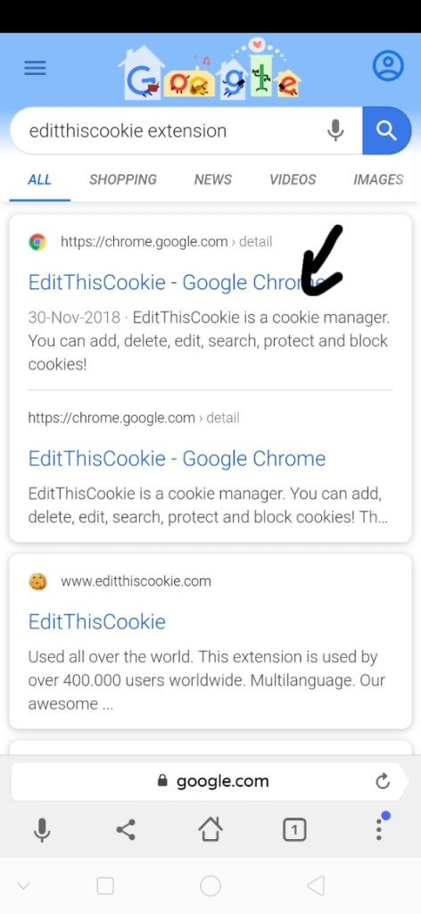 Editthiscookies extension
