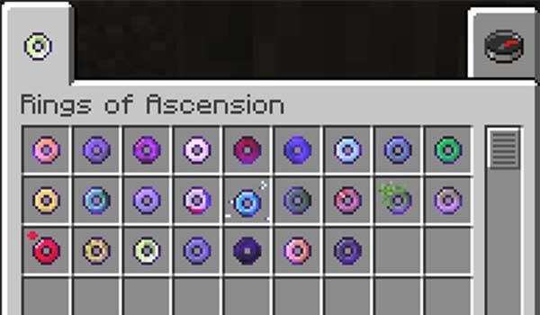 Imagen donde podemos ver los diversos anillos que podremos fabricar con el mod Rings of Ascension 1.16.1, 1.16.2, 1.16.3 y 1.16.4.